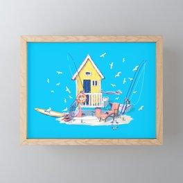 Fun in the Sun — Beach Hut Framed Mini Art Print