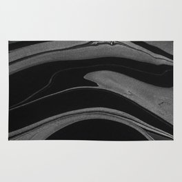 Black and White Ink Marbling 07 Rug