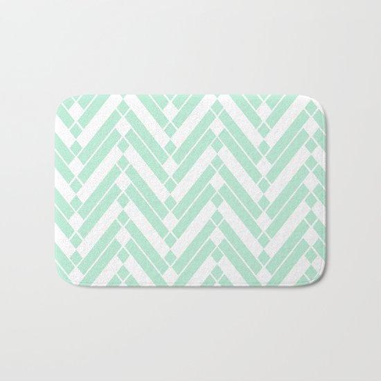 Chevron Herringbone ZigZag pattern - light mint green #Society6 Bath Mat