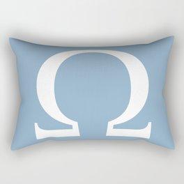 Greek letter Omega sign on placid blue background Rectangular Pillow