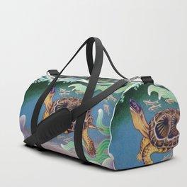 Wood Turtle Color Pencil Artwork Duffle Bag