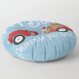 Pitbull Pit Bull Dog Christmas Tree Farm Vintage Red Truck  Floor Pillow