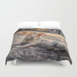 Two dogs resting Duvet Cover
