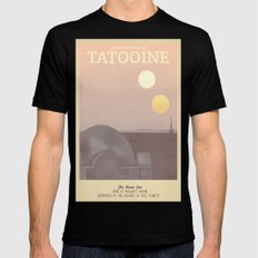 Retro Travel Poster Series - Star Wars - Tatooine SMALL Mens Fitted Tee Black
