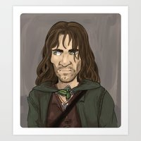 aragorn Art Prints featuring Aragorn by quietsnooze