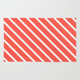 Pink Grapefruit Diagonal Stripes Rug