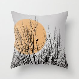 Birds and tree silhouette Throw Pillow