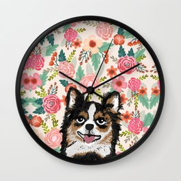 Chihuahua florals flowers spring blooming garden pet portraits dog breed custom gifts for dog person Wall Clock