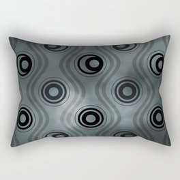 PPG Night Watch (Pewter Green), Bold Circle Rings & Wavy Line Pattern Rectangular Pillow