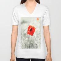 poppy V-neck T-shirts featuring Poppy by Falko Follert Art-FF77