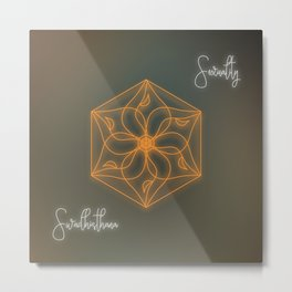Sacral chakra healing mandala, glowing energy Metal Print
