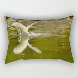 The heron lays on the placid river... Rectangular Pillow