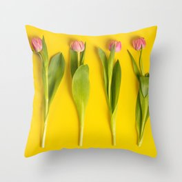 Pink tulips on yellow background, flat lay Throw Pillow