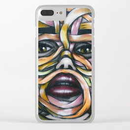 Ribbon Girl Graffiti Wall Art Clear iPhone Case