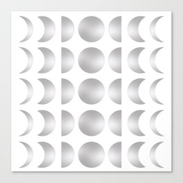 Silver Moon Phase Pattern Canvas Print