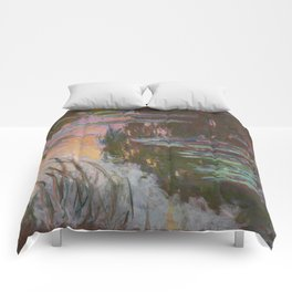Water Lilies - Setting Sun by Claude Monet Comforters