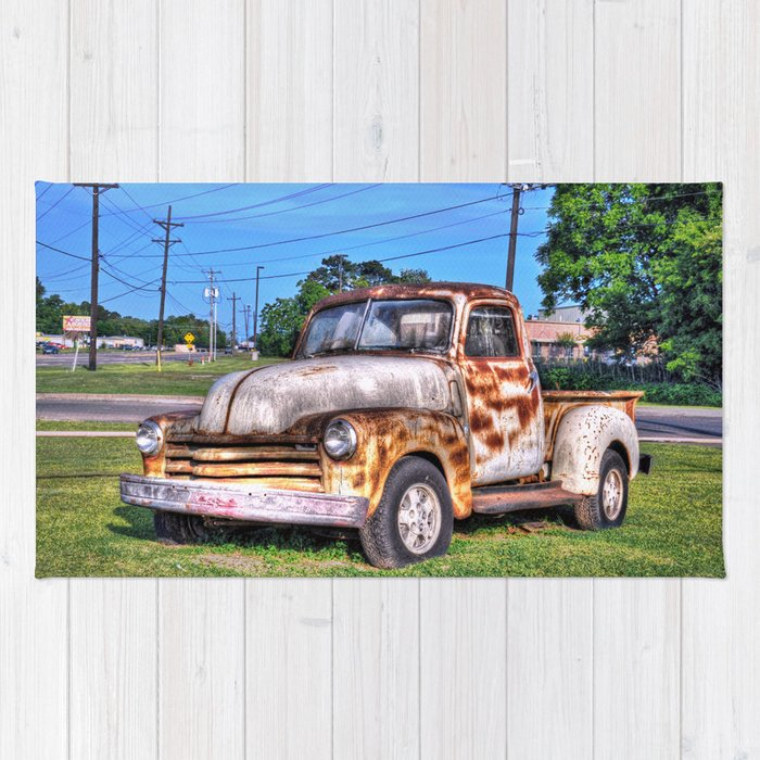 Old Chevy Pickup Truck Rug by venny   Society6