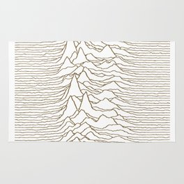 UNKNOWN PLEASURES #GOLD ON WHITE Rug