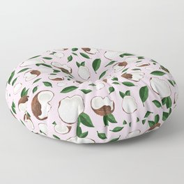 Coconut pencil drawing pink Floor Pillow