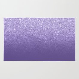 Modern ultra violet faux glitter ombre purple color block Rug