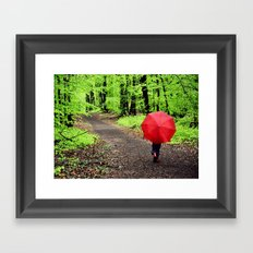 rainy woods Framed Art Print