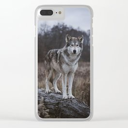 Wolf on Log Clear iPhone Case