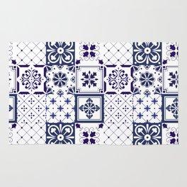 Blue tile pattern Rug