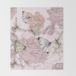 Victorian style classic pattern with butterflies and roses Throw Blanket