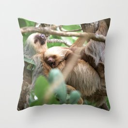 Yawning Baby Sloth - Cahuita Costa Rica Throw Pillow