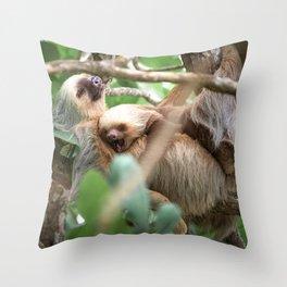 Yawning Baby Sloth - Cahuita Costa Rica Throw Pillow