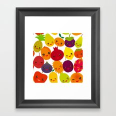 kawaii fruit Pear Mangosteen tangerine pineapple papaya persimmon pomegranate lime Framed Art Print