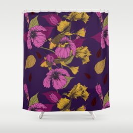 Vibrant Goldfish And Hibiscus Flower Pattern Shower Curtain
