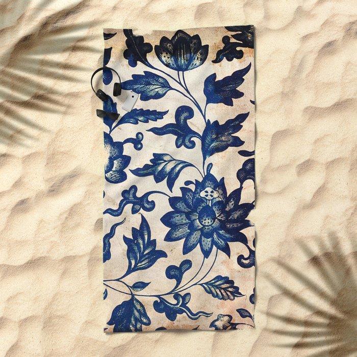 Blue Oriental Vintage Tile 06 Beach Towel