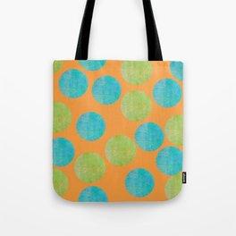 Batik Dots Lime and Teal Circle Pattern Tote Bag