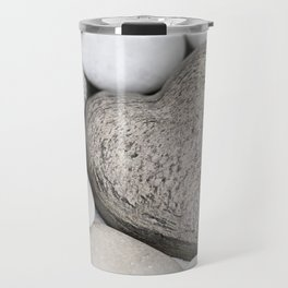 Stone Heart and pebble greige tones Travel Mug