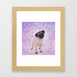 Cute Pug and heats Digital Art Framed Art Print