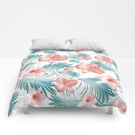 Tropical Flowers Palm Leaves Finesse #2 #tropical #decor #art #society6 Comforters