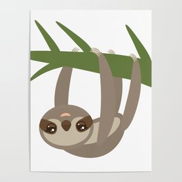 Three-toed sloth on green branch on white background Poster