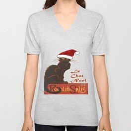 Le Chat Noel Christmas Vector Unisex V-Neck