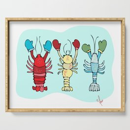 Three Maine Lobsters with Winter Mittens Serving Tray
