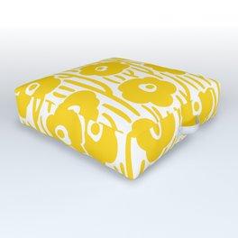 Mid Century Modern Wild Flowers Yellow Outdoor Floor Cushion