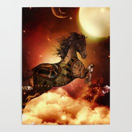 Steampunk, awesome steampunk horse Poster