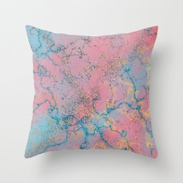 Marble pattern, pink and blue with sparkles Throw Pillow