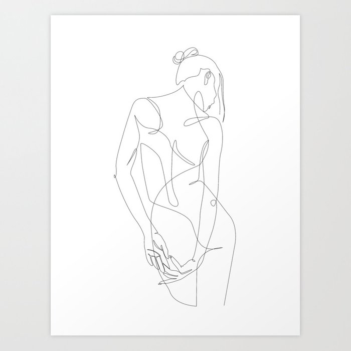 ligature - one line art Art Print