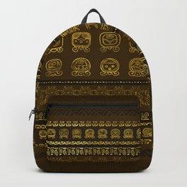 Maya Calendar Glyphs pattern Gold on Brown Backpack