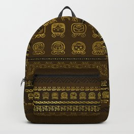 Maya Calendar Glyphs pattern Gold on Brown Backpack
