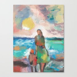 Figures at Seaside Canvas Print