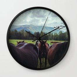 Horses at Cades Cove Wall Clock