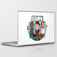 grand theft auto Laptop & iPad Skins featuring Grand Theft Auto V Cartoon by Aaron Lecours
