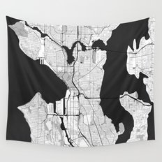 Seattle Map Gray Wall Tapestry